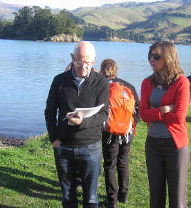 Chairperson of the RDBPT Simon Mortlock and Sarah Pritchett, Assistant Manager, prepare to meet the Koukourarata rūnanga